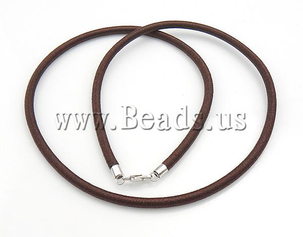Free shipping!!!Fashion Necklace Cord,Bulk Jewelry, Rubber, with Nylon Cord, sterling silver lobster clasp, brown, 3.50mm(China (Mainland))