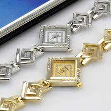Moda totalmente enjoyada Elegent del análogo de cuarzo de la muchacha cuadrada de pulsera catenaria de la mano reloj del oro correa de plata relojes mujer