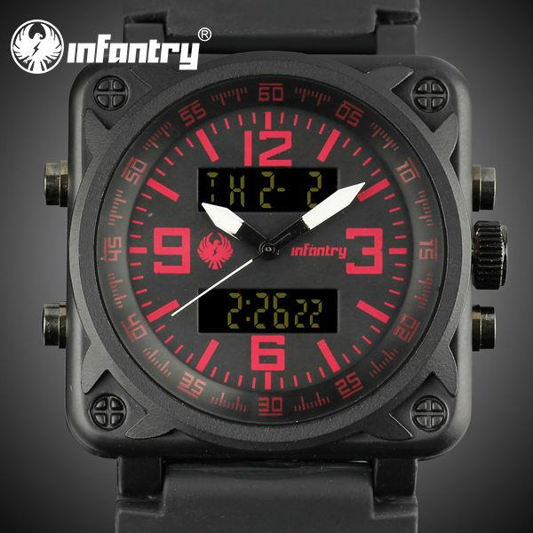 INFANTRY Top Sale Men's Fashion Watch Military Sport Digital Quartz Wristwatch Rubber Multi Function Alarm Stop Watch Back Light(Hong Kong)