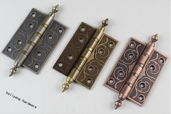 4*3*3.5 Steeple Tip Hinge With Decorative Vine Pattern  Exterior Door Hinges.