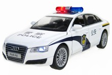 1:32 AUDI A8 Police Simulation Car Alloy Diecast Model Pull Back Toy Gift Sound & Light - Dreamhouse store