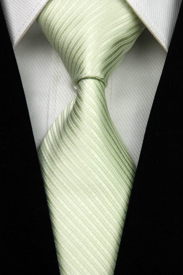 NT0020 Green Silver Stripe Smooth Jacquard Woven Classic Type Silk Polyester Man s Business Luxury Tie