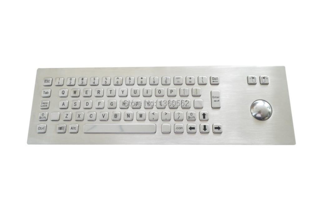 industrial trackball keyboard embedded Stainless Steel Metal Kiosk Keyboard 65 keys Front Mounting metal keyboard with trackball(China (Mainland))