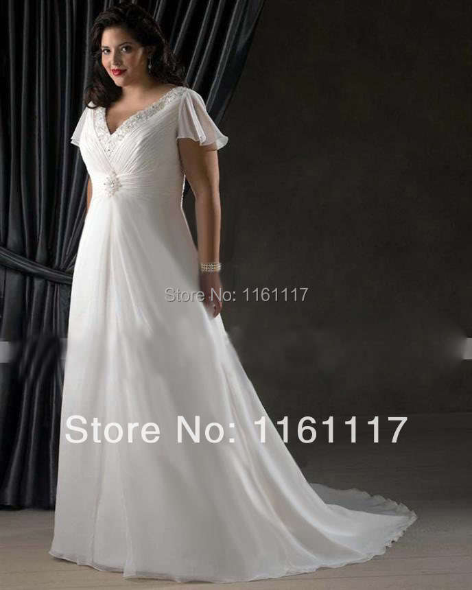 2015 new free shipping white ivory chiffon bridal gown for Size 30 wedding dresses