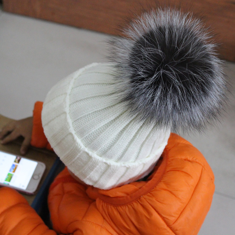100% Real Fur pompoms Ball Kids Winter Warm Silver Fox Fur Hat For Baby Girls Boys Beanies Cap Crochet Children Knitted Hats(China (Mainland))