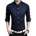 Top Quality 2016 New Fashion Crown Print Mens Shirt 100 Cotton Long Sleeve Casual Slim Fit