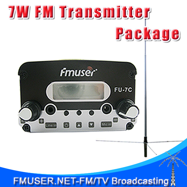 FMUSER FU-7C CZE-7C CZH-7C 7W FM Stereo PLL Radio FM transmitter GP200 1/2 Wave GP Antenna Power Supply Package(China (Mainland))
