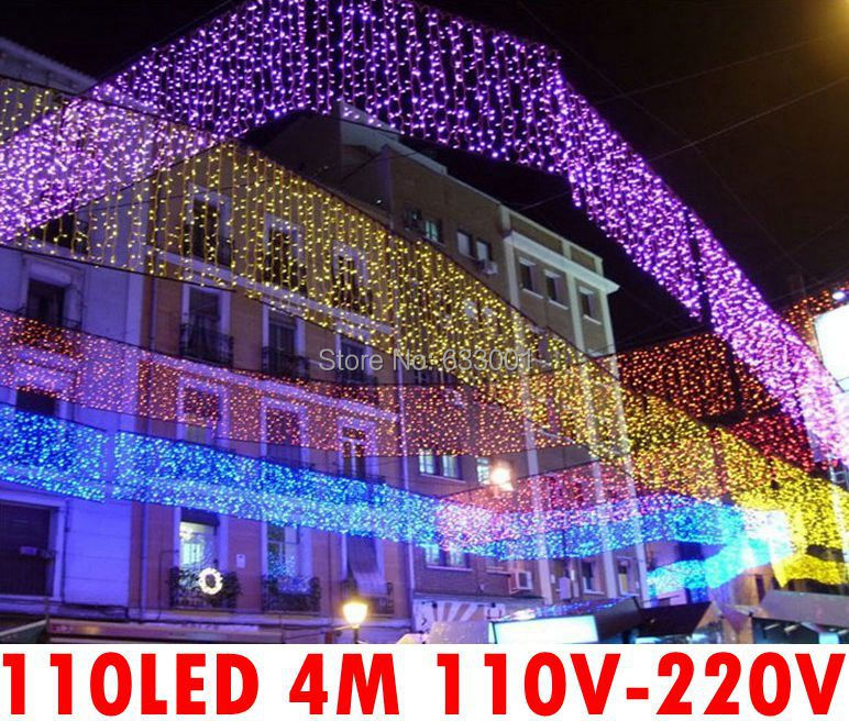 Good quality outdoor purple 110 led 4m icicle lights for Quality outdoor christmas decorations