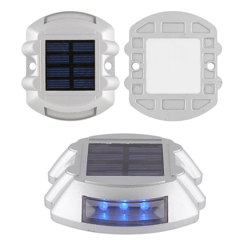 Solar Light One Set Solar Power 6LED Outdoor Road Driveway Pathway Dock Light Lamp Blue-Lighting 0.3W Ni-Cd battery(China (Mainland))