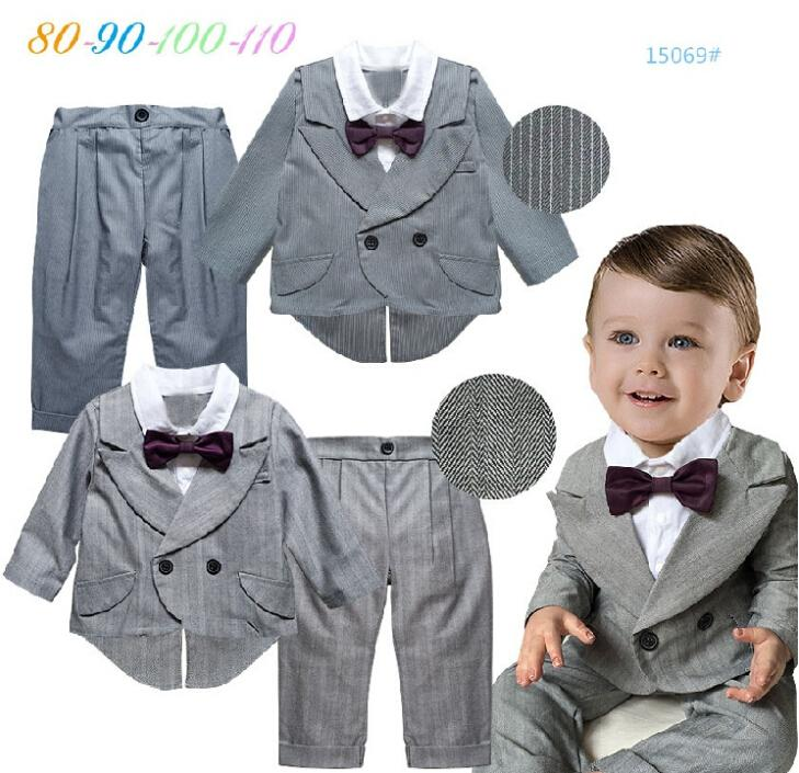 Infant Gentlemen 2pcs Bow Tie Outfits + Striped Pants Baby Boys Classical Formal British Cute Suits Toddlers Wedding Party Wear(China (Mainland))