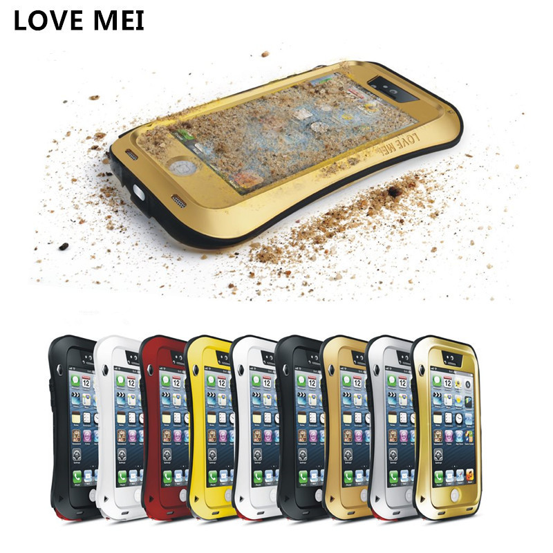 For iPhone 5 5S Original LOVE MEI Powerful Waterproof Shockproof Metal Aluminum Case for iPhone5 + Gorilla Glass Free Shipping(China (Mainland))