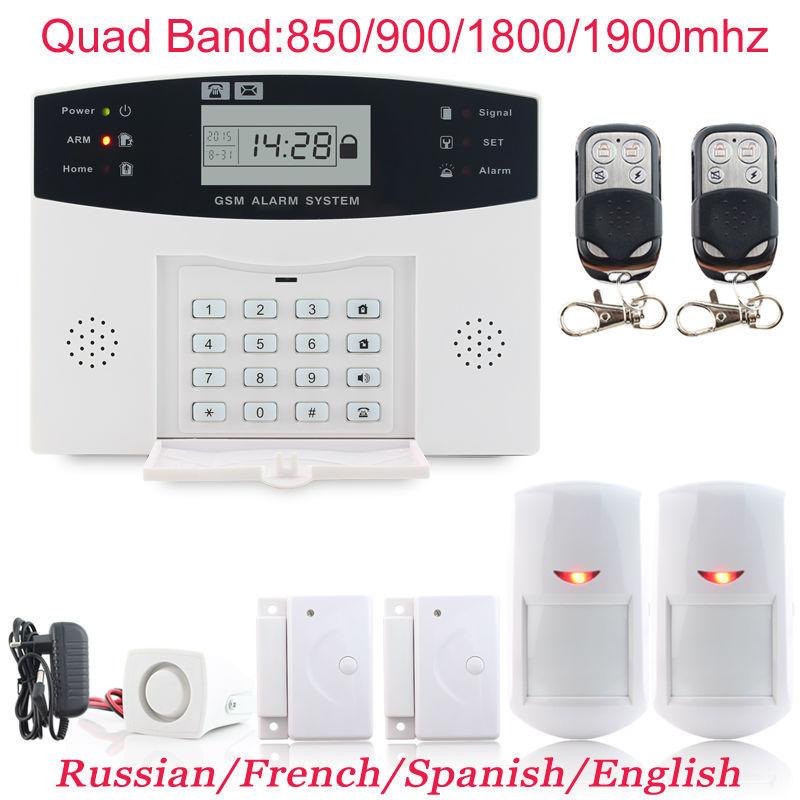 Гаджет  Brandnew Model 2 x Metal Remote Control Infrared Detector GSM Voice Wifi Alarm System LCD Display Home Secure Alarm None Безопасность и защита
