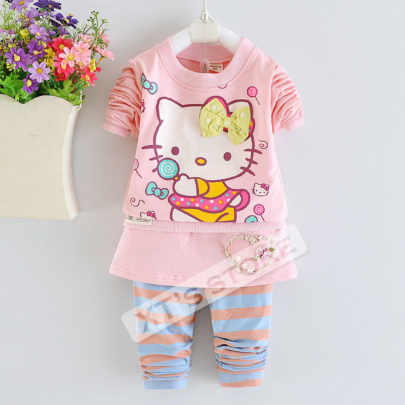 2015 New Spring autumn Hello Kitty toddler girl clothing sets baby girl clothes kids 3-piece cartoon children clothing for girl(China (Mainland))
