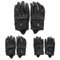 Men Motorcycle Gloves leather Outdoor Sport Full Finger Motorcycle Riding Protective Armor Black Short Leather Warm