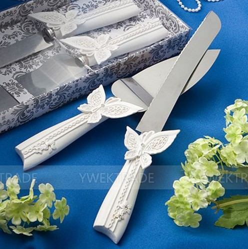 1SET Butterfly Theme Wedding Cake Shovel and knife Set +gift box Wedding Party Decoration wedding gift(China (Mainland))