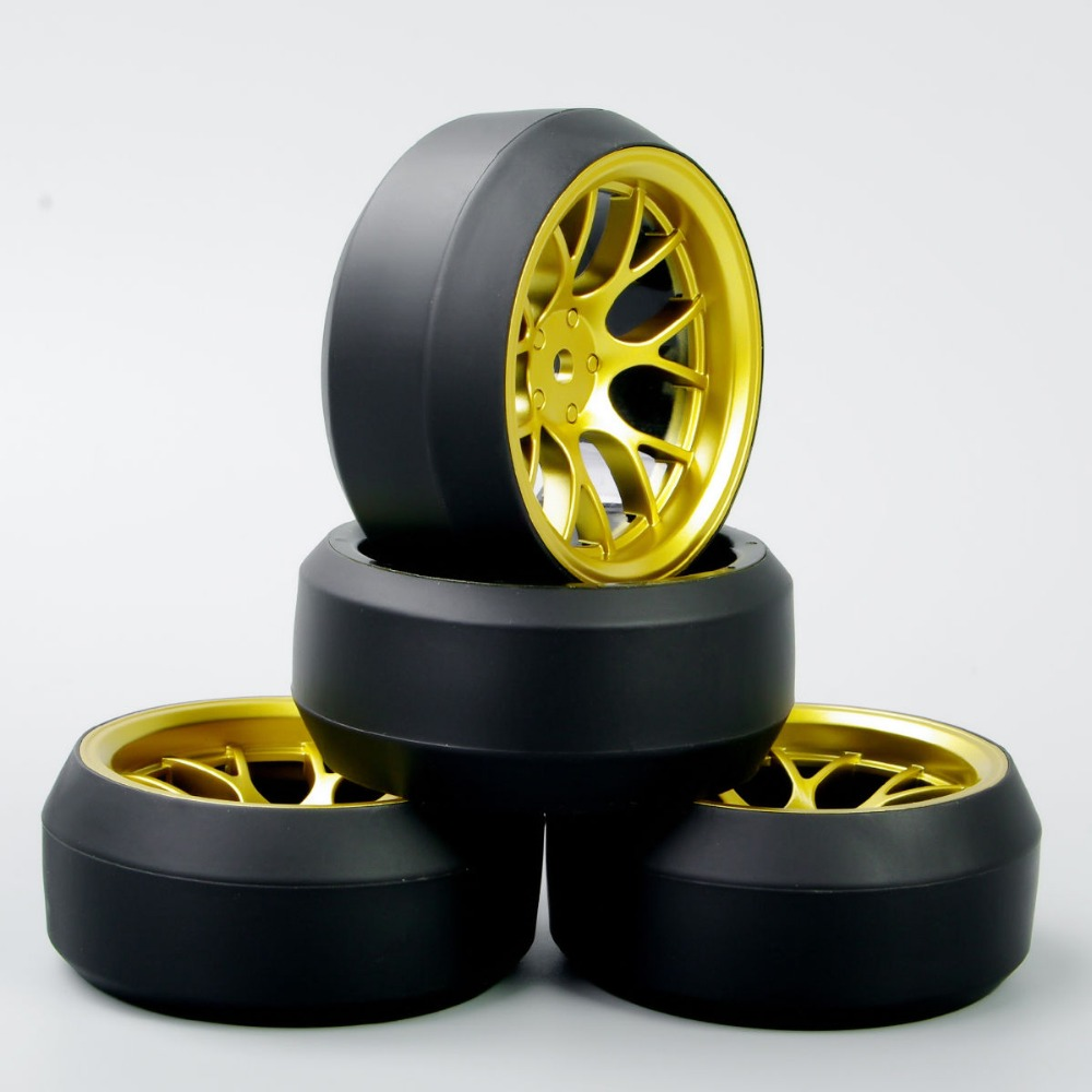 New 4Pcs/Set 12mm Hex Hobby Go DHG 1:10 RC Tires Speed 3 Degree Tires Tyre Wheel Rim 4 PCS For HPI Drift Car A(China (Mainland))