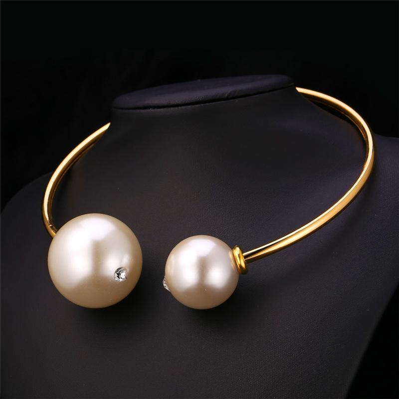 Pearl Gold Torques 18K Real Gold Plated Platinum Plated Classic Elegant Simple Fashion Jewelry For Women Necklace Collares N205(China (Mainland))