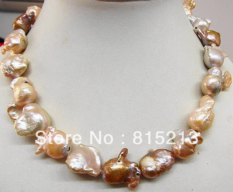 ddh001675 HUGE 25MM SOUTH SEA GENUINE GOLD LAVENDER MULTICOL NUCLEAR PEARL NECKLACE 14K<br><br>Aliexpress