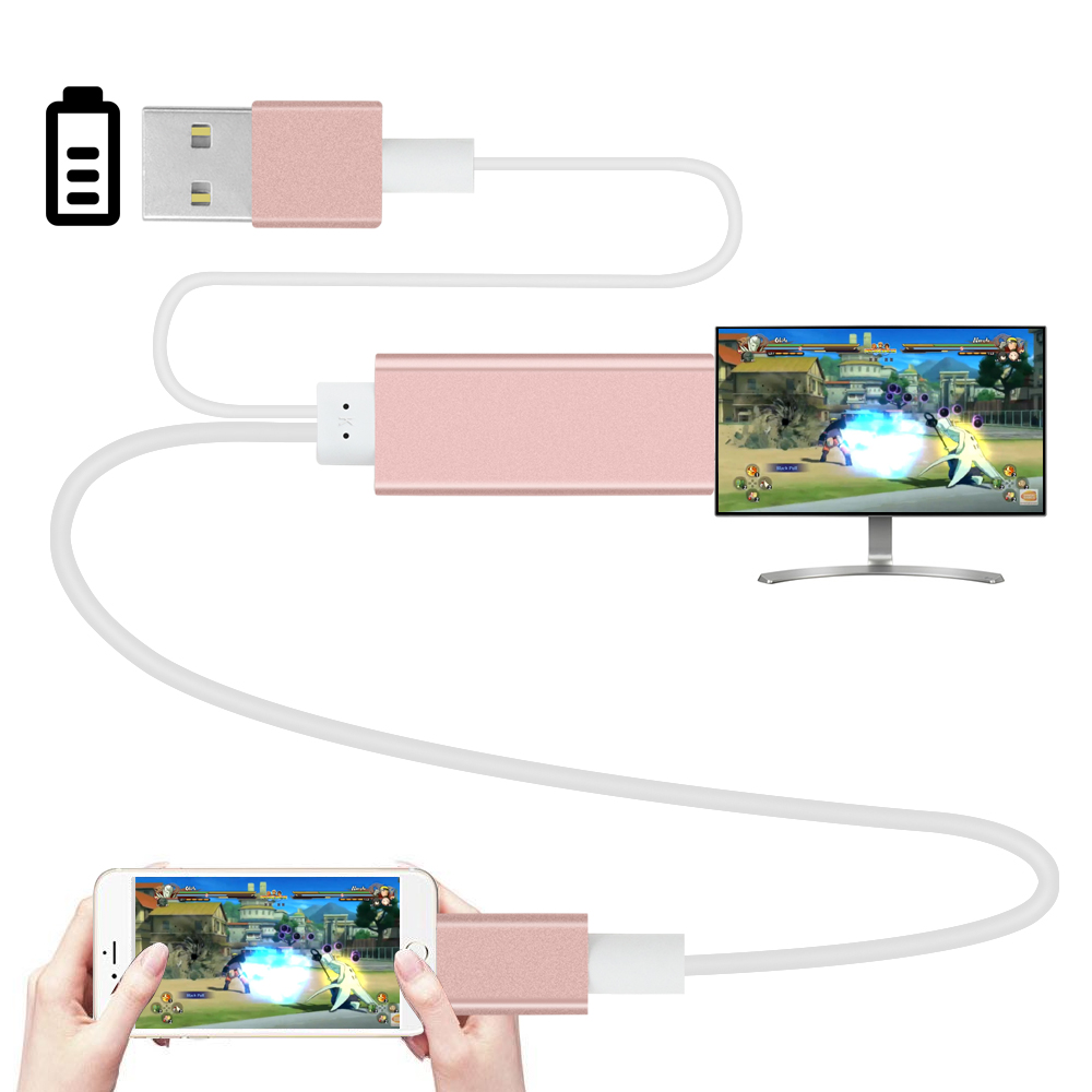 2m HDMI HDTV Adapter AV USB Cable for lightning USB to HDMI HD1080P For iPhone 5 5S 6 6 plus 6S 7 Support TV &hdmi function(China (Mainland))