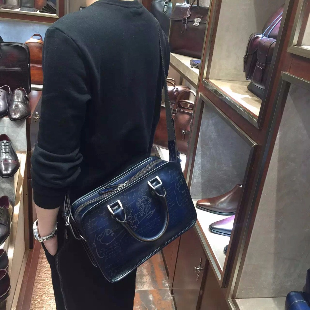 Small women men's leather briefcase bags in Italian cowhide handmade leather OEM custom made luxury briefcase sale berluti style(China (Mainland))