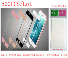(6SP118500DHL)(500PCS by DHL)Silk Printing Front Tempered Glass Protector Protective Film for iPhone 6 Plus&6S Plus(5.5) Screen