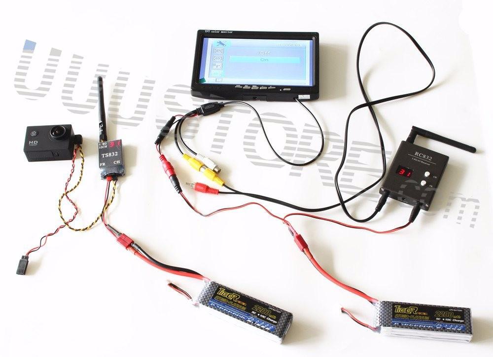 RC FPV Combo System boscam 5.8ghz 5.8G 600mw transmitter receiver No blue monitor SJ4000 Camera for walkera CX20 DJI Phantom QAV250 F450 6