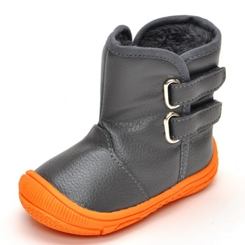 Boy cotton boots Rubber sole Keep warm Winter Plush baby shoes Padded cotton boots soft bottom Boots Velcro