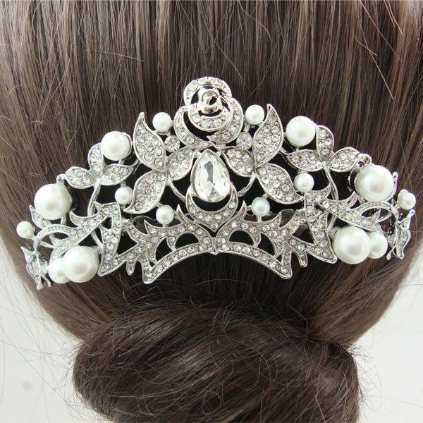 New Beautiful Bridal Wedding Hair Accessories Flower Pearl Bridal Bridesmaid Wedding Comb Rhinestone Crystal(China (Mainland))