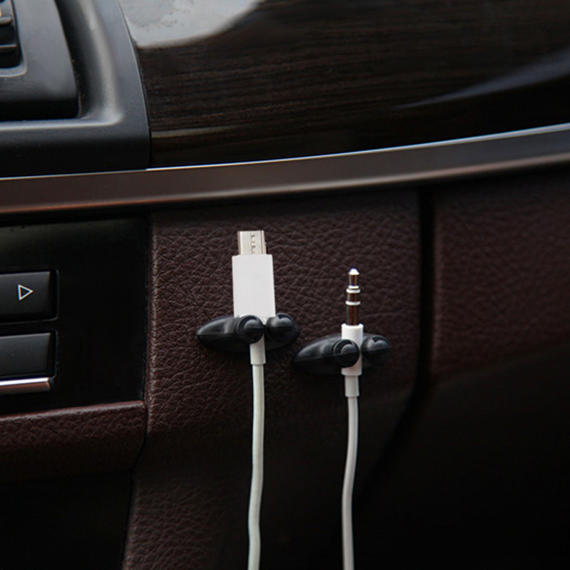 8PCS Multifunctional Adhesive Car Charger Line Clasp Clamp Headphone USB Cable Car Clip Interior Accessories BHU2