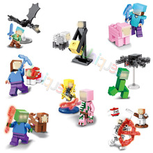 Minecraft Building Block Set Zombie Steve Pigman Alex  Enderman Skeleton with Weapon Minifigure Brick Legoeddly Toy SY608(China (Mainland))