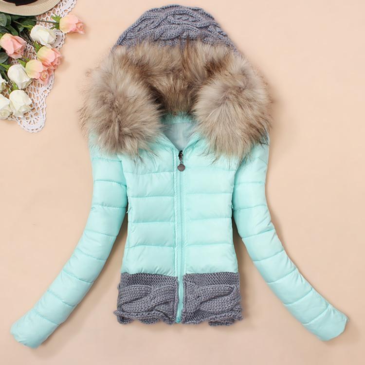 2015 Winter New Women's Coat Knitted Wool Cap Stitching Slim Jacket Big Fur Collar Cotton Padded Coats Manteau de duvet - Best Brand Style store