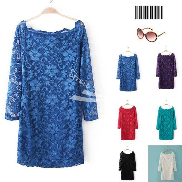 S,M,L Korea Women's Charming Wave Collar Off-shoulder Mini Lace Dress Party Dress Free shipping(China (Mainland))