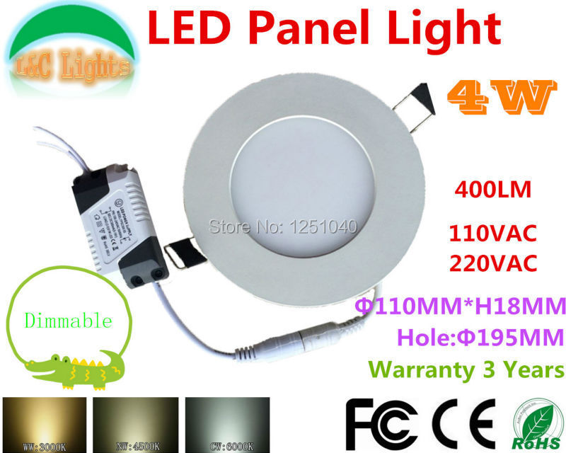 Round 4W Dimmable LED Panel Light,110VAC/220VAC,Commercial,Indoor Lighting,LED Lamps,Warranty 3 Years,LED Downlight,5PCs a lot<br><br>Aliexpress