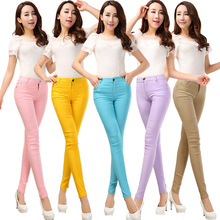 2016 Spring and Summer Women's Slim Pencil Pants Candy Colors slacks girl's Stretch Trousers Elastic big Size thin Leisure pants(China (Mainland))