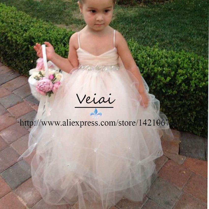 Детские платья торжества платья для маленьких девочек бретельках воздушного тюля бальное платье для свадьбы вечерних ну вечеринку DS007