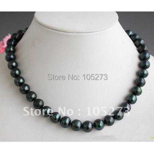 AA 18inchs AA 11-12MM Round Black Freshwater Pearl Necklace Fashion Womens Jewelry Pearl Jewelry Wholesale Free Shipping FN1398<br><br>Aliexpress