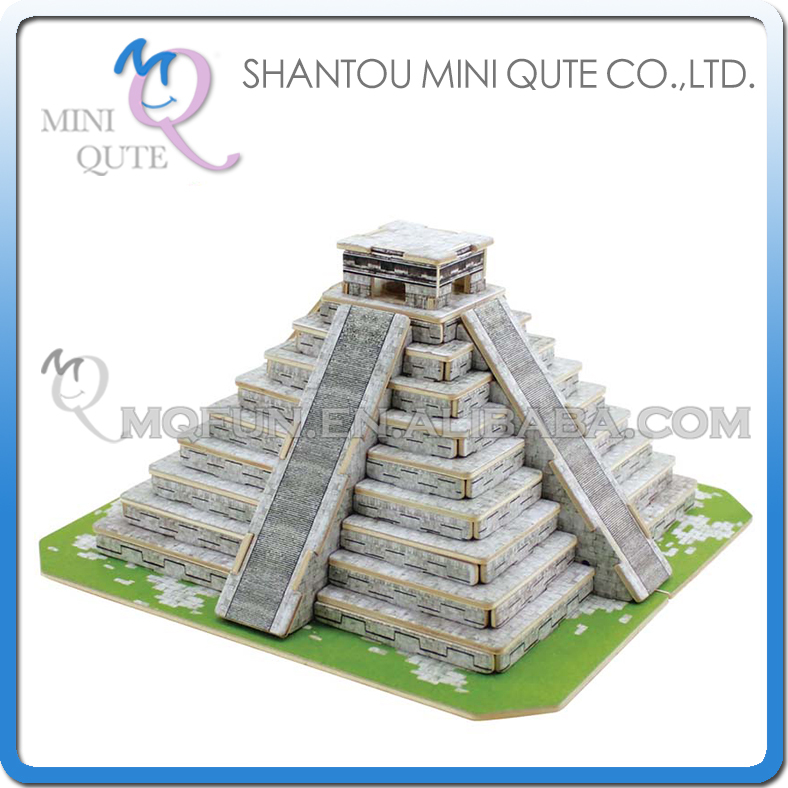 Mini Qute 3D Wooden Puzzle Maya Pyramid world architecture famous building Adult kids model educational toy gift NO.JPD561(China (Mainland))