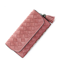 Retro Trendy Knitting Long Wallet Women Occident Style Woven Pattern Tassel Ornament Purse Solid Color Designer