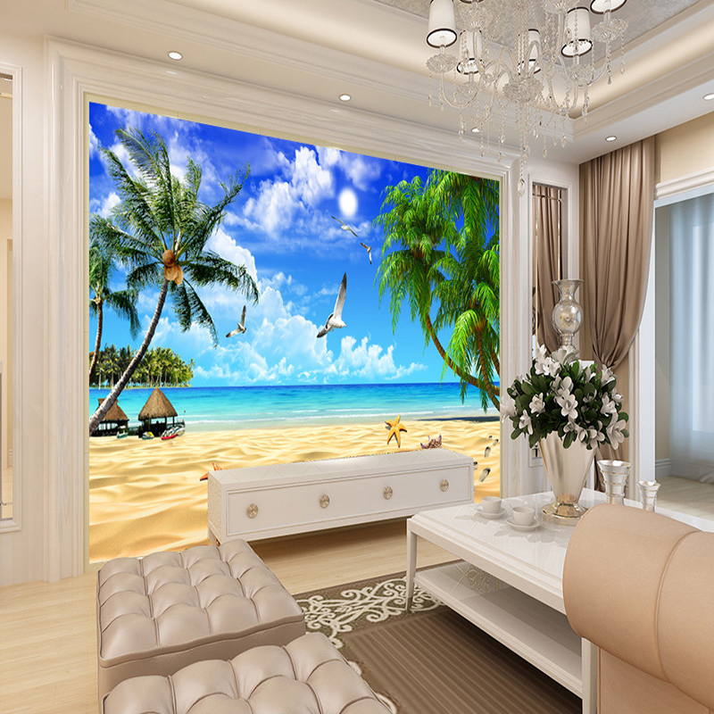 3d wallpaper beach landscape mural wallpaper for living for Wall papers for rooms