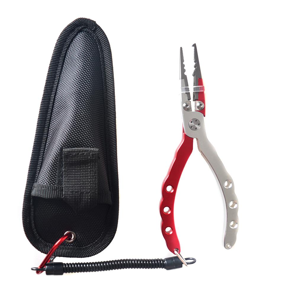 Fishing Pliers Set Split Ring Cutters Fishing Clamp Remover Fishing Line Hooks With Sheath Retractable Tether Combo(China (Mainland))