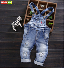 Free shipping 2016 spring autumn kids denim bib, baby boys cotton denim rompers, kids(China (Mainland))
