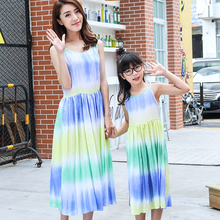 Summer Beach Long Dresses for Mother Daughter Fashion Family Matching Clothes Summer Girl Dress Family Set Women Dress Blue FX15