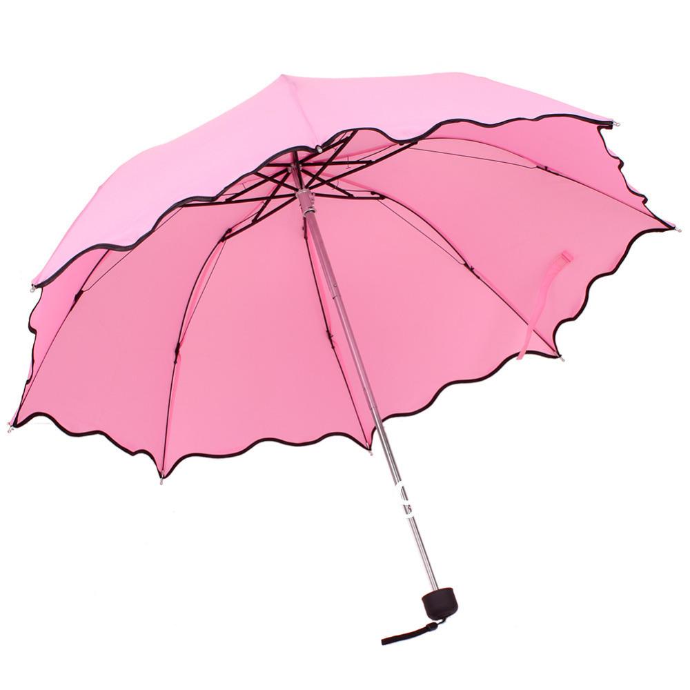 Roze kleur opvouwbare paraplu lotus bladeren golf dame prinses flouncing dome zon parasol regen - Zon parasol ...