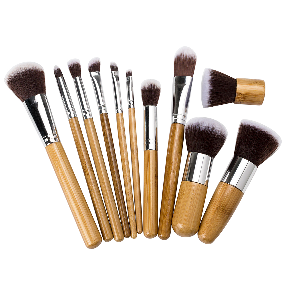 Aliexpress.com  Buy 11Pcs Bamboo Makeup Brush Set Professional Facial Cosmetic Brushes Tools ...