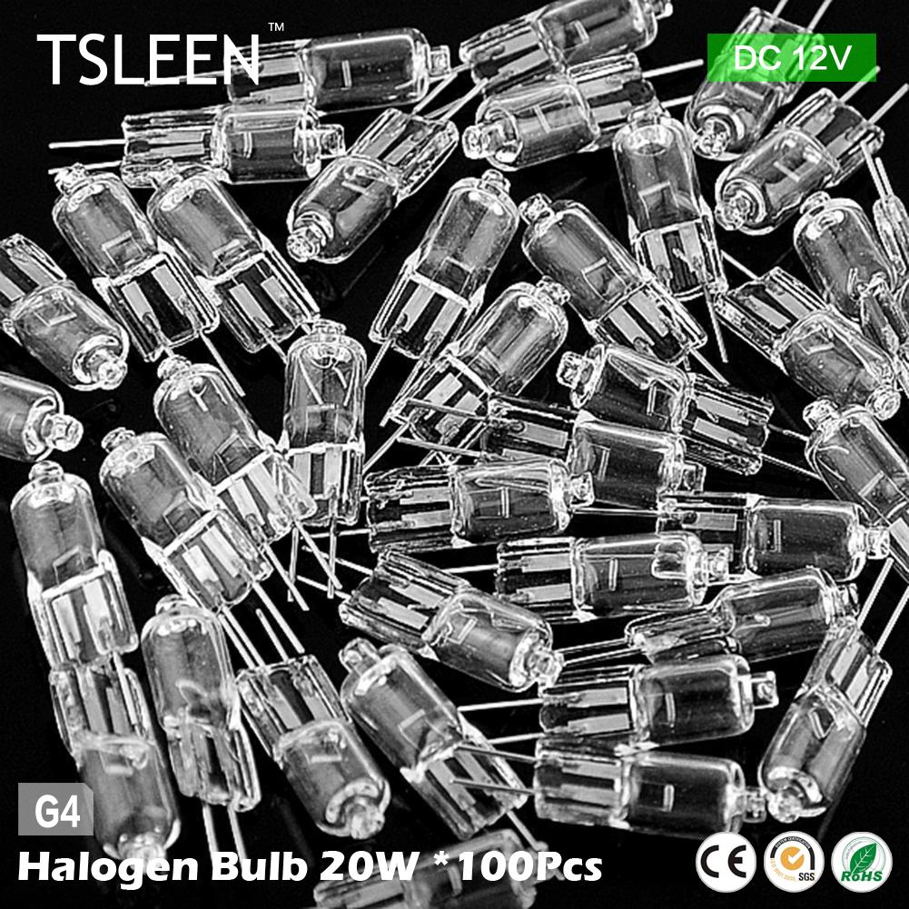 100PCS/LOT Halogen Light Bulb Lamp G4 Base Lamp 20W 20 Watt DC 12V G4 Base JC Type(China (Mainland))