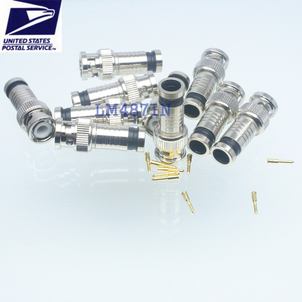 10pcs Connector compression BNC male plug clamp RG58 RG6 RG59 LMR240 cable(China (Mainland))