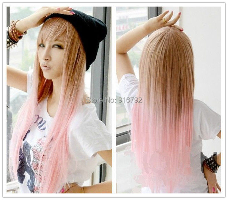 FREE SHIPPING &gt;&gt;New Long Straight Fashion Wig Pink gradient Wig<br><br>Aliexpress
