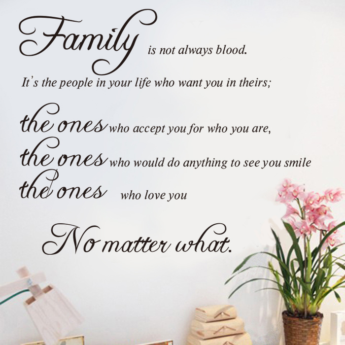 Family quote sticker wall decals vinyl stickers home decor for Family room wall quotes