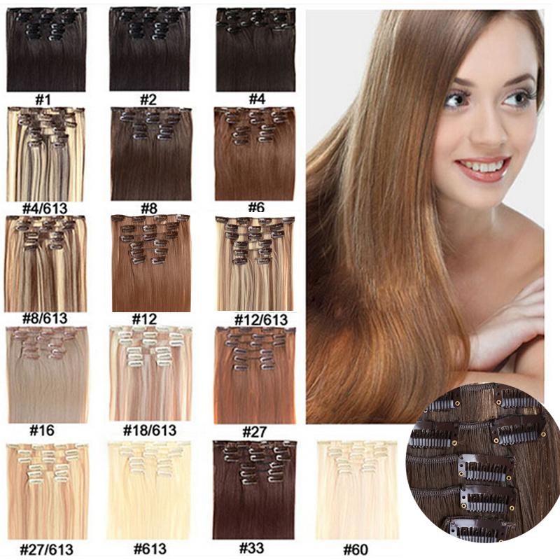 Гаджет  16 Color Synthetic clip in on hair extension Kanekalon high temperature fiber 7pcs 100g 1set 18 20 22 24 inch None Волосы и аксессуары