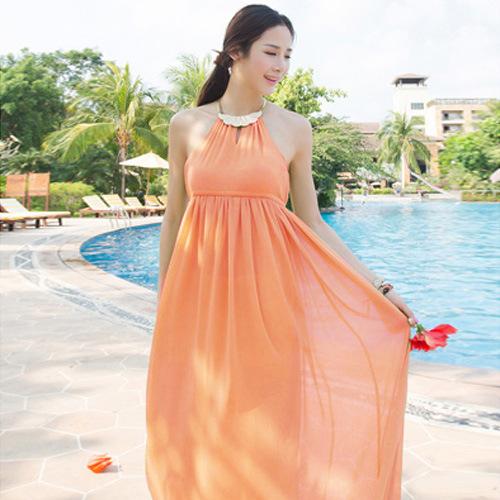 5026 2014 bohemia chiffon halter-neck one-piece dress - jim yue's store